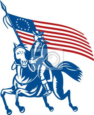 Equitación general americano con la bandera