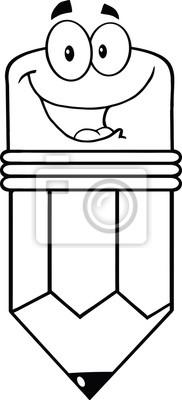 Esbozado Feliz Del Personaje De Dibujos Animados De Lápiz