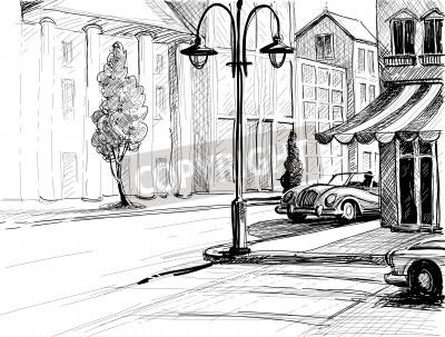 Póster Esbozo de la ciudad retro, calle, edificios y coches antiguos ilustración vectorial, lápiz en el estilo de papel