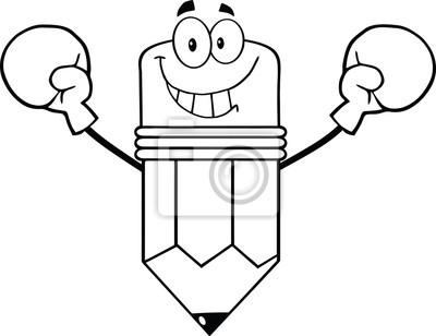 Esbozo Sonreir Caracter Dibujos Animados Del Lapiz Con Guantes