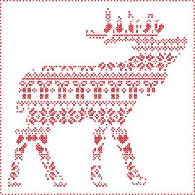Póster Escandinavo invierno nórdico costura patrón de Navidad de tricotar en forma de cuerpo de renos, incluyendo los copos de nieve, los corazones xmas árboles regalos de Navidad, nieve, estrellas, adornos