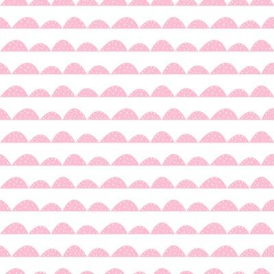 Póster Escandinavo patrón transparente rosa en estilo dibujado a mano. Hileras estilizadas de la colina. Wave patrón simple para tejidos, textiles y ropa de bebé.