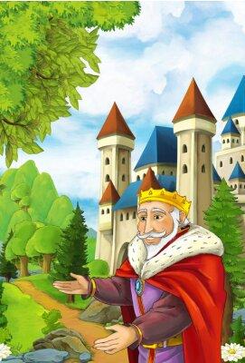 Póster Escena de dibujos animados con feliz rey de bienvenida a alguien - guapo manga hombre - ilustración para niños