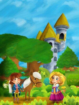 Póster Escena del bosque de dibujos animados con el príncipe con su caballo y la princesa de pie y hablando en el camino cerca de la torre del castillo