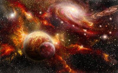 Póster espacio en tonos anaranjados rojos
