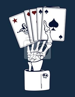 Esqueleto de la mano con las tarjetas