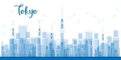Póster Esquema de la ciudad de Tokio Rascacielos en color azul.