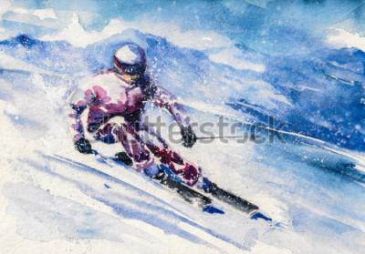 Póster Esquiador de montaña se desliza desde la montaña. Cuadro creado con acuarelas.