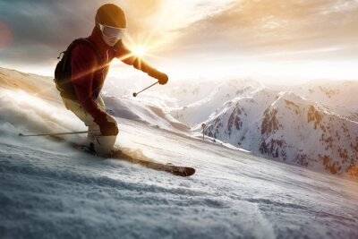 Póster Esquiador en un entorno atardecer