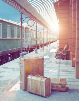 Póster estación de ferrocarril retro