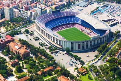 Póster Estadio más grande de Barcelona desde helicóptero. Cataluña