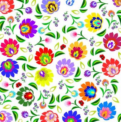 Póster Estampado de flores folclórica polaca tradicional vector