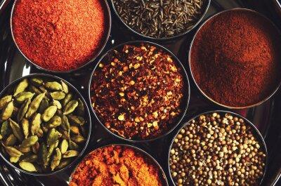 Póster Estante con especias indias tradicionales para cocinar - cardamomo, cúrcuma, comino, semillas de cilantro, canela y chile