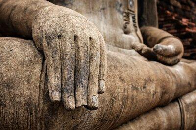 Póster Estatua de Buda mano detalle de cerca