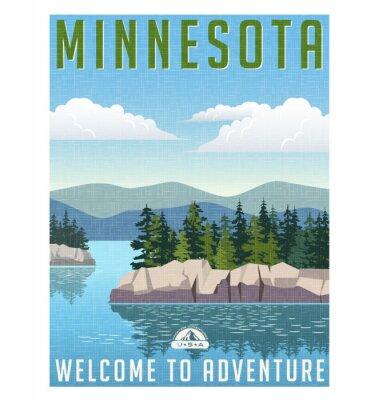 Póster Estilo retro posters de viaje o pegatinas. Estados Unidos, Minnesota pintoresco lago