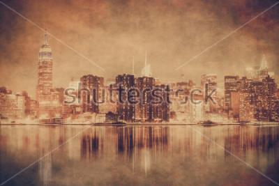 Póster Estilo vintage horizonte de la ciudad de nueva york de manhattan con textura grunge