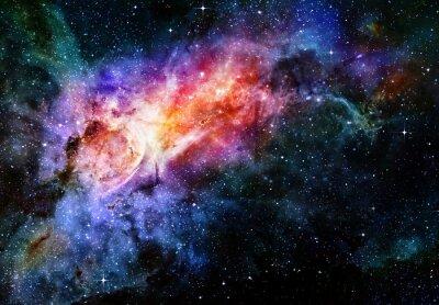 Póster estrellado profundo nebulosa del espacio ultraterrestre y la galaxia