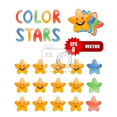 Estrellas de dibujos animados de color carteles para la pared ...