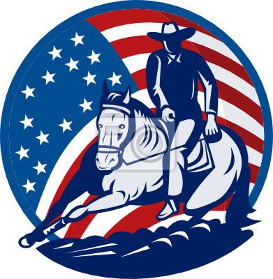 Estrellas del vaquero del rodeo del caballo del corte y las rayas