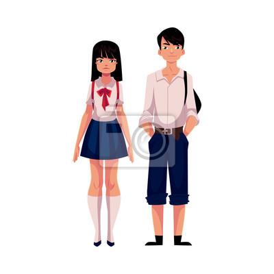 Póster Estudiantes japoneses típicos del japonés, colegiala y colegial, en uniforme típico, ilustración del vector de la historieta aislada en el fondo blanco. Retrato de cuerpo entero de estudiantes típicos
