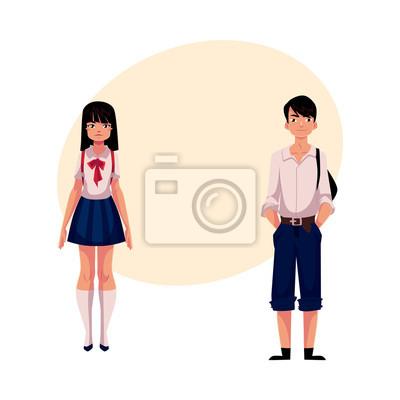 Póster Estudiantes japoneses típicos del japonés, colegiala y colegial, en uniforme típico, ilustración del vector de la historieta con el lugar para el texto. Retrato de cuerpo entero de estudiantes típicos