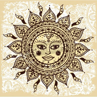 Póster Ethnic ornamental sun