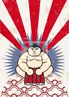 etiqueta de luchador de sumo japonés vector