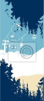 etiqueta de montaña y Plato ascensor invierno