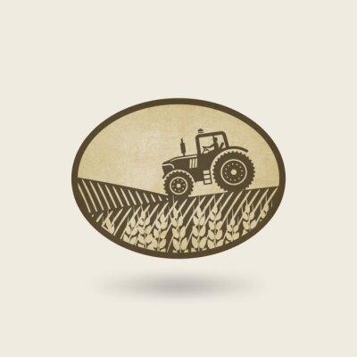 Póster Etiqueta oval con el paisaje. Tractor en el campo