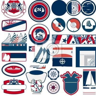 etiquetas marinos y vectoriales náutica
