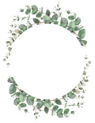 Póster Eucalyptus circle frame composition