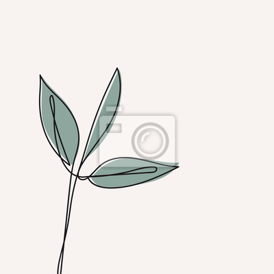 Póster Eucalyptus leaf continuous line drawing. One line . Hand-drawn minimalist illustration, vector.