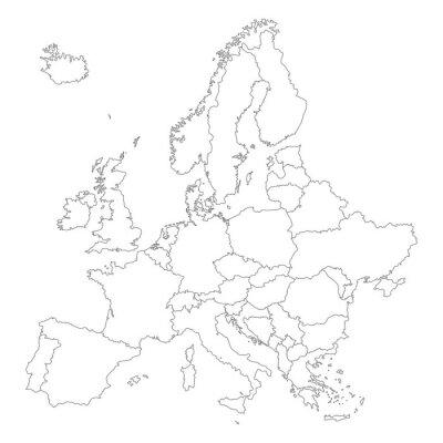 Póster Europa en Weiß - Vektor (hoher Detailgrad)