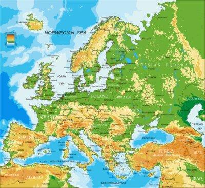 Póster Europa - mapa físico