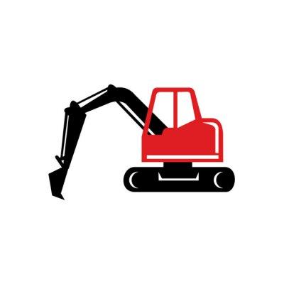 Excavadora mecánica excavadora icono retro