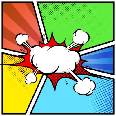 Póster Explosión nube extracto del estilo del cómic plantilla de marco de página