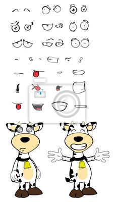 Expresiones De Dibujos Animados Vaca Set03 Carteles Para La
