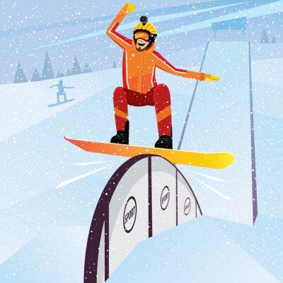 Póster Extreme atleta se mueve hacia abajo de la montaña en un snowboard