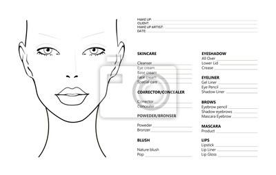 Póster Face chart Makeup Artist Blank. Template. Vector illustration. Beauty face chart. Beautiful woman with open eyes. Face chart Makeup Artist Blank Template. Vector illustration.