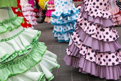 Póster faldas de baile flamenco de España