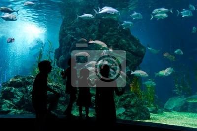 Familia con dos niños en el oceanario