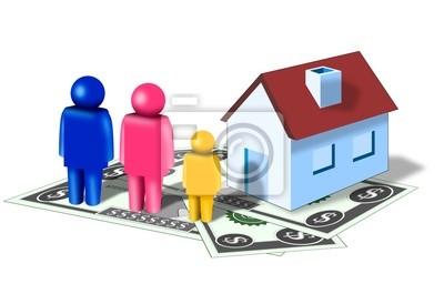 familia con la casa y el dinero