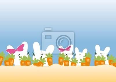 familia de conejos con zanahorias
