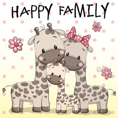 Póster Familia de tres jirafas