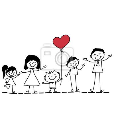Familia Feliz De Dibujos Animados Dibujo De La Mano Carteles Para La