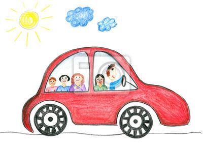Familia Feliz En El Dibujo El Viaje En Coche De Niños