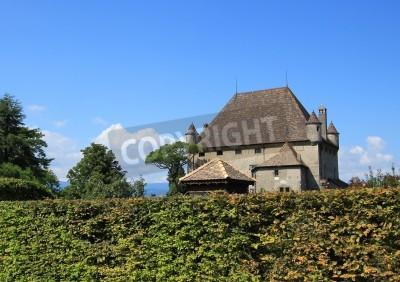Póster Famoso Castillo viejo Yvoire, Haute-Savoie, Francia. Está situado en el famoso pueblo medieval Yvoire bien conocido por su hermosa decoración de flores durante la temporada de verano.