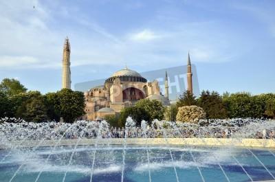Póster Famoso Santa Sofía, el famoso edificio histórico de Estambul