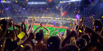 Póster Fans en el juego estadio vista panorámica