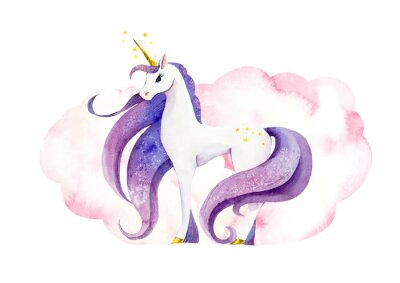 Póster Fantastic animal - unicorn in pink clouds/ Watercolor hand drawn illustration